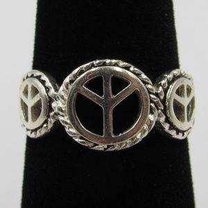Vintage Size 6.5 Sterling Rustic Peace Symbol Ring